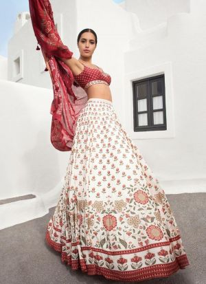 Beautiful White Digital Print Lehenga Choli