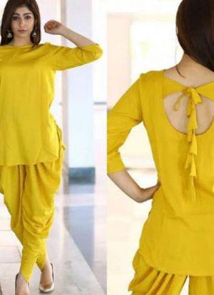 Beautiful Yellow Patiala Salwar Suit