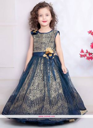 Beige And Navy American Crepe Gown For Kids Girl Collection