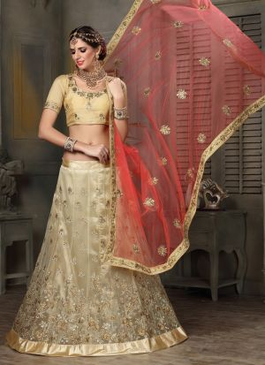 Beige Designer Exclusive Bridal Lehenga Choli