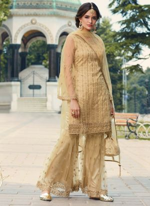 Beige Net Wedding Wear Sharara Suit
