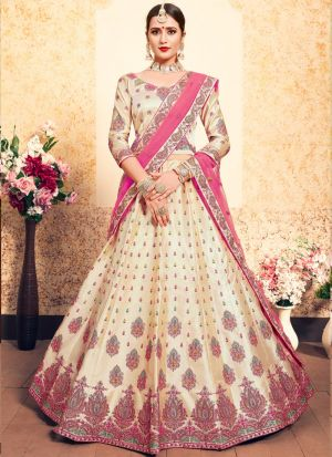 Beige Satin Designer Lehenga For Engagement