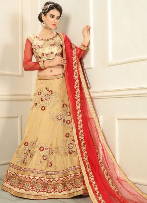 Beige Silk Indian Wedding Lehenga Choli