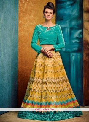 Benglori Silk Yellow Anarkali Lehenga And Chaniya Choli