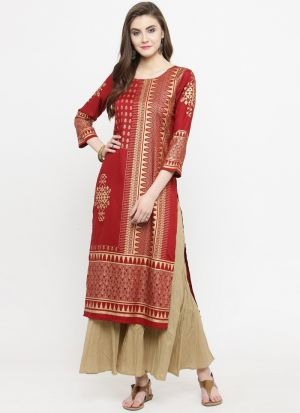 Best Designer Red Viscose Rayon Kurti Collection For Womens