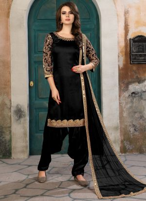 Black Art Silk Aanaya New Design Punjabi Suit