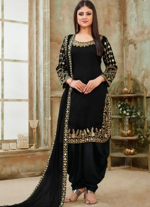 Black Art Silk Designer Patiala Salwar Suit