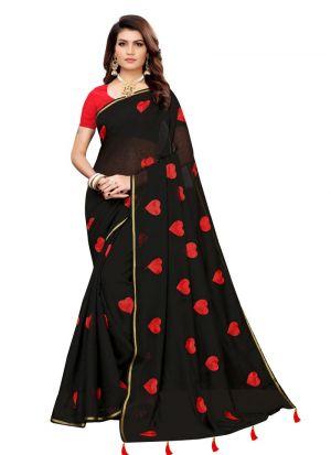 Black Chanderi Cotton Solid Party Wear Designer Saree