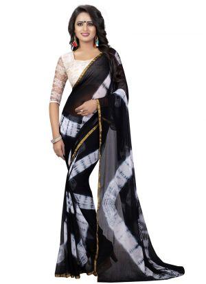 Black Chiffon Indian Saree