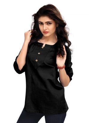 Black Color Cotton New Trend Top