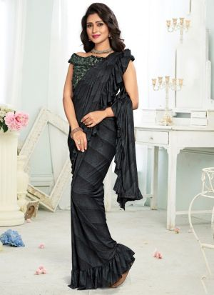 Black Color Ready To Wear Party Wear Ruffle Saree