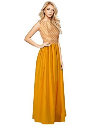 Yellow Color Solid Long Maxi Dress