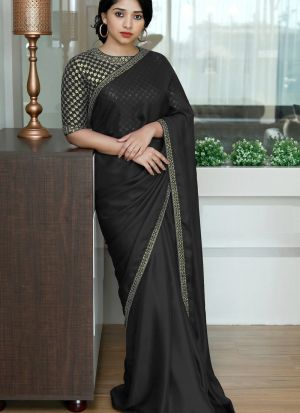 Black Colored Two Tone Silk Fancy Thread Work Saree