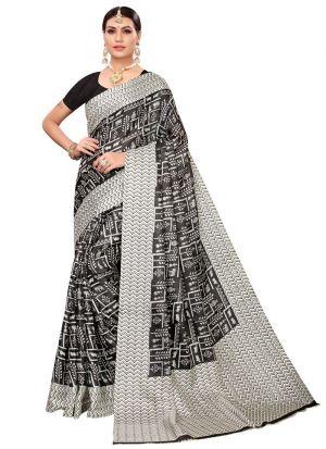 Black Colour Khadi Silk Printed Tradional Saree