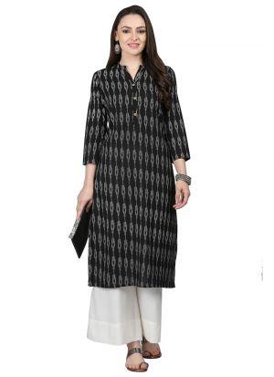 Black Cotton Designer Stitched Kurti