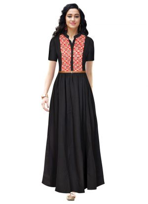Black Crepe Western Style Gown