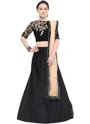 Black Designer Wedding Lehenga Choli With Velvet Fabric