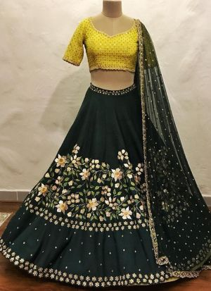 Black Embroidered Sequnce Thread Work Satin Taffeta Designer Lehenga
