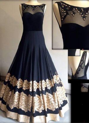 Black Fancy Thread Work Georgette Party Wear Gown