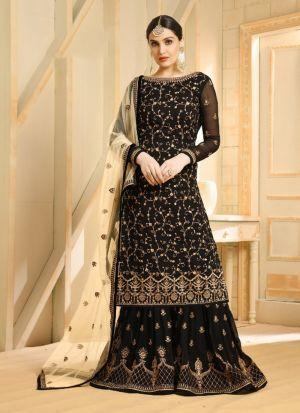 Black Foux Georgette Indian Designer Salwar Suit