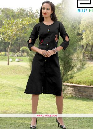 Black Gaju Kurti Embroidery Work With Fancy Button