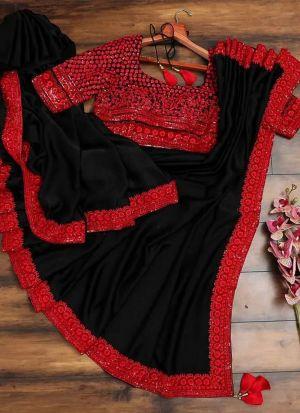 Black Georgette Wedding Style Sequence Work Saree