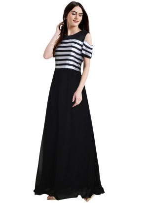 Black Georgette Western Style Gown