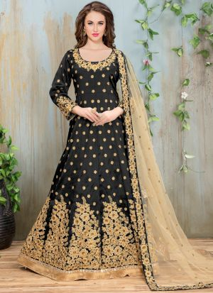 Black Heavy Embroidery Aanaya Partywear Salwar Suit