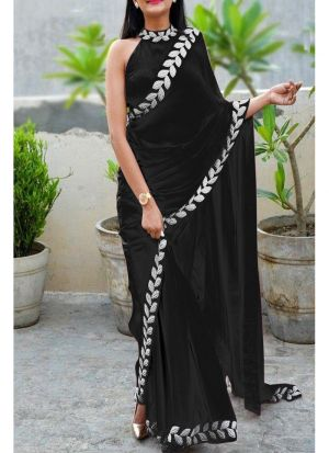 Black Heavy Embroidery Lace Border Vichitra Silk Designer Saree