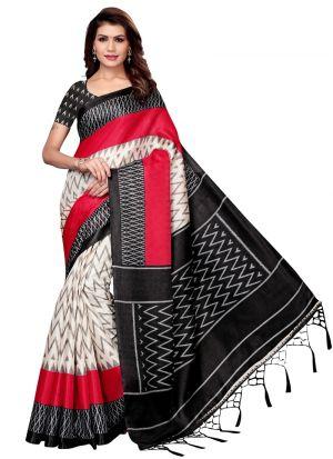 Black Khadi Silk Printed Party Wear Saree