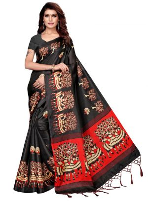 Black Khadi Silk Saree With Printed Work