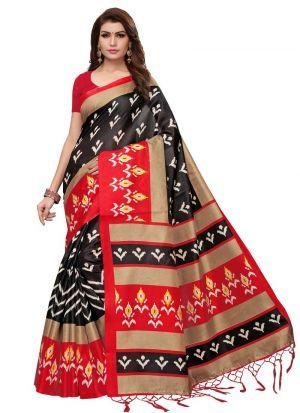 Black Printed Khadi Silk Saree