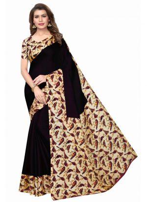 Black Printed Saree With Khadi Silk Fabric