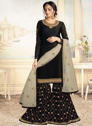 Black Satin Georgette Indian Designer Salwar Suit
