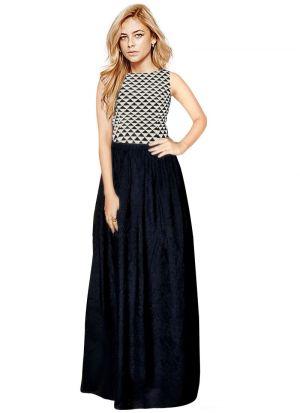 Black Sleevless Long Western Gown