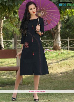 Black Slub Cotton Fabric Stylish Kurti Embroidery Work