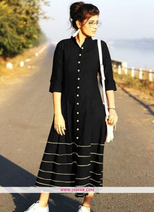 Black Summer Highway Slub Cotton Heavy Quality Kurti