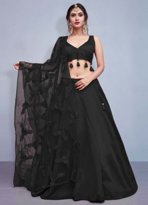 Black Tafetta Silk Volume 8 Bride Maids Lehenga Choli