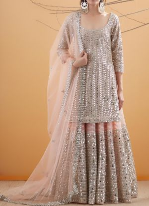 Blooming Peach Suit Style Party Wear Lehenga Choli