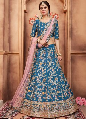Blue Art Silk Florals Vol 2 Designer Lehenga Choli