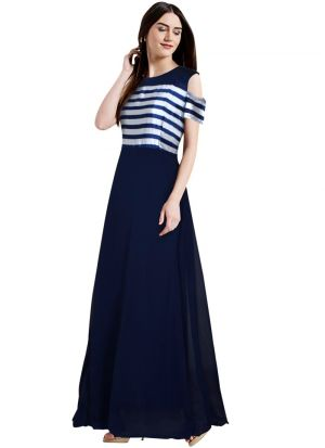 Blue Cap Sleeve A Line Evening Gown