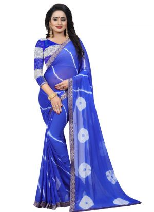 Blue Chiffon Saree With Blouse