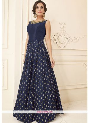 Blue Color Diwali Special Designer Gown latest fashion collection