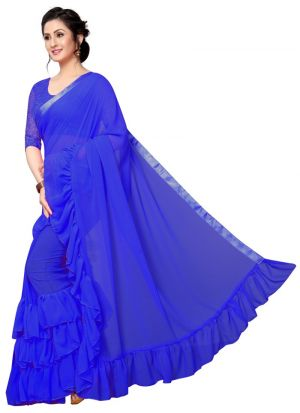 Blue Color Special Ruffle Saree Collection For Rakhi Festival
