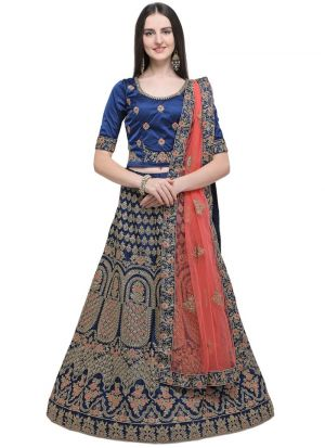 Blue Designer Wedding Lehenga Choli With Naylon Satin Fabric