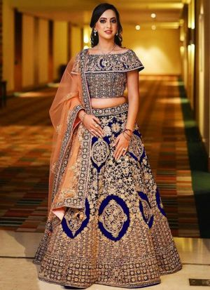 Blue Designer Wedding Wear Banglori Satin Silk Lehenga Collection
