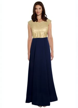 Blue Georgette Cap Sleeve Gown