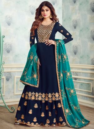 Blue Georgette Embroidered Skirt Kameez