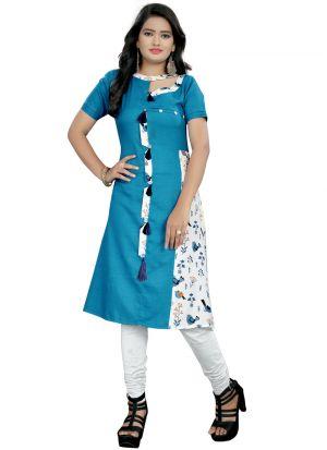 Blue Rayon Floral Print Designer Kurti