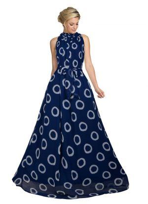 Blue Sleevless A Line Evening Gown